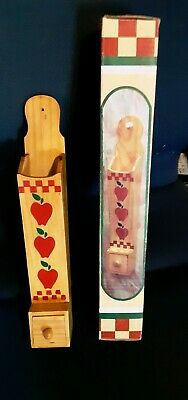 Wood Long Matchstick Holder Hanging Fireplace Match Box APPLES DECOR New In Box