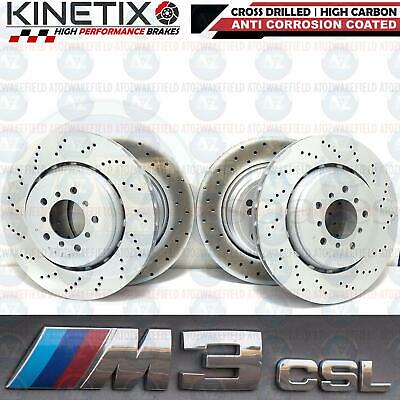 For Bmw M3 E46 Csl Front Rear Cross Drilled Performance Brake Discs Set Fr Rr