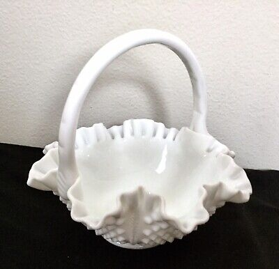 Vintage FENTON White Milk Glass Hobnail Fluted Ruffled Basket Bowl