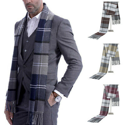 Mens Scotland Soft Scarf Wool Check Plaid Winter Warm Shawl Neck Wrap Long Scarf
