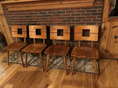1940s Solid Wood Heywood Wakefield SET OF 4 Split Back Armless Chairs