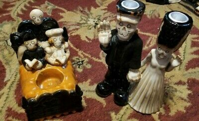 New Lot Yankee Candle Boney Bunch 2010 Couple Bed and 2013 Frankenstein Couple