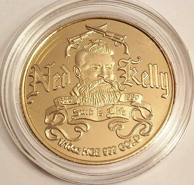"New ""Ned Kelly #4"" 1/10th oz HGE 999 Gold Australiana Coin, Such is Life"