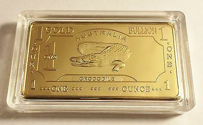 "Awesome ""AUSTRALIAN CROCODILE"" 1 Troy Oz Ingot Finished in 999 24k Gold a"