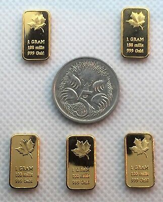 Set of 5 x 1 Gram Canadian Maple Leaf Ingots 999 24k Gold Plated (I) Gift