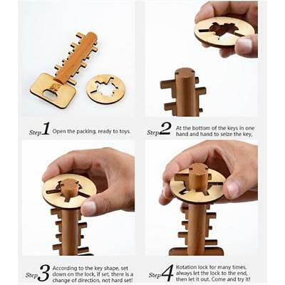 Wooden Toy Unlock Puzzle Key Classical Lock Toys For Intellectual Educational bw