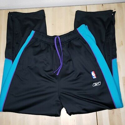 New Orleans Hornets Mens L Reebok NBA Warm Up Basketball Tear Off Pants Black