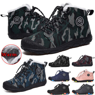 Kids Winter Snow Boots Boys Girls Outdoors Fur Lined Hiking Trainers Warm Shoes