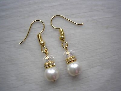 Ladies & Girls Pearl & Diamante Drop Dangle Earrings for bridesmaid gift for 55C