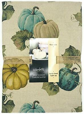 Colordrift Fall Thanksgiving Tablecloth Pumpkins & Vines in Neutral Shades of Te