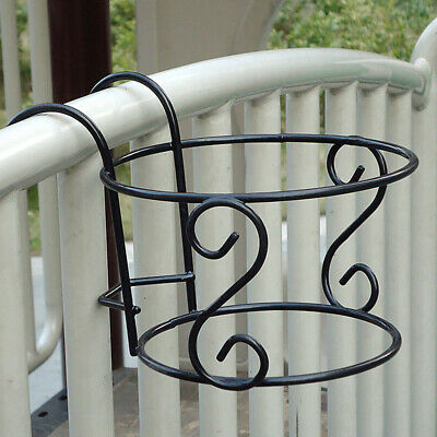 Metal Iron Flower Stand Pot Hanging Balcony Garden Plant Basket Holder Rack