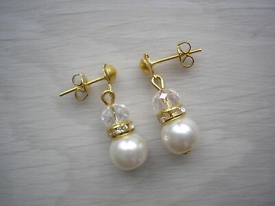Ladies & Girls Pearl & Diamante Drop Earrings for bridesmaids gift for her 55C
