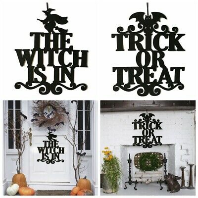 The Witch Is In Halloween Hanging Sign Letters Door Wall Hanging Halloween Decor