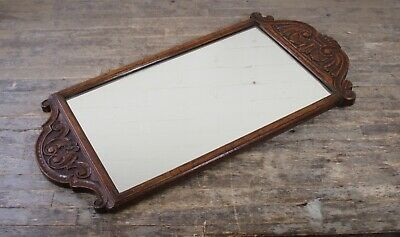 Antique Victorian Mahogany Fret Carved Wall Mirror With Scrolled Carving Design