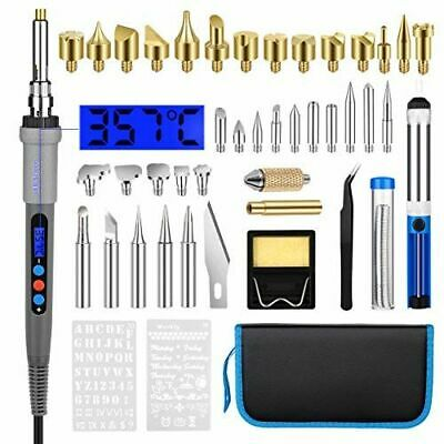 60W Wood Burning Pen Tool Soldering Stencil Iron Craft LCD Pyrography Kit 42pcs