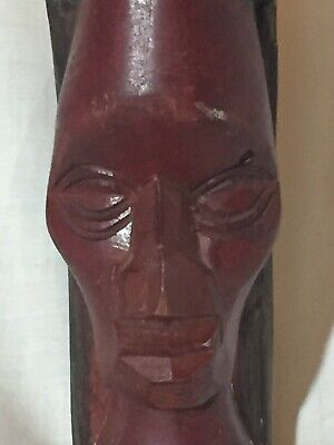 Hand Carved Jamaican Caribbean Tribal Wood Bust Sculpture Statue Head Jamaica