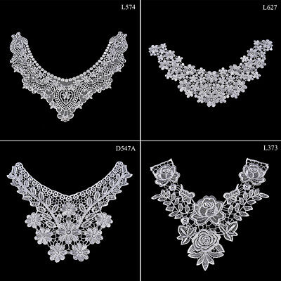 1PC Embroidered Floral Lace Neckline Neck Collar Trim Clothes Sewing Patch ATJO