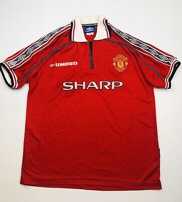 VIntage Umbro MANCHESTER UNITED Polo Jersey 90's Size XL Red Football EPL