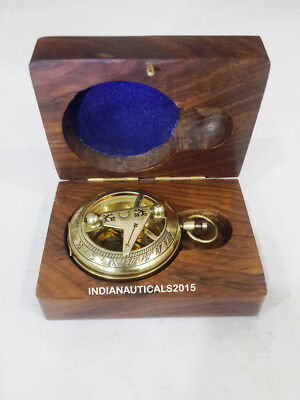Nautical Brass Pocket Compass Vintage Handmade Maritime Gifting Item With Box