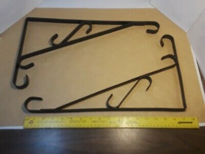 Lot of 2 Vintage Wrought Iron Brackets - Double Side Sign Holder - Plant Hanger