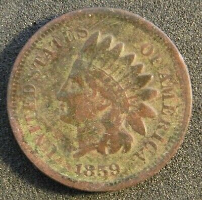 1859 Indian Head Usa 1 Cent Coin In Very Good Condition