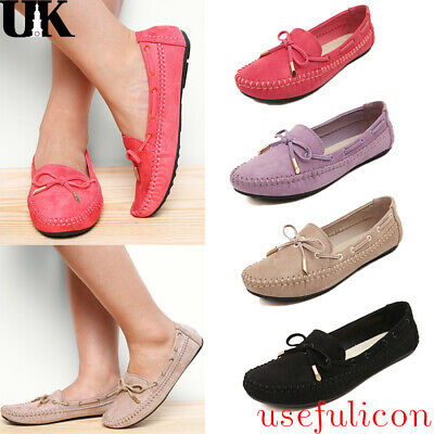 Women Casual Loafers Slippers Lazy Driving Moccasins Soft Flat Slip On Bow Shoes