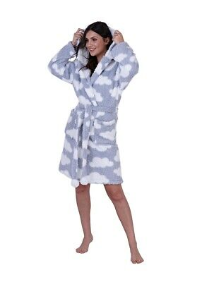 Ladies Silver Clouds Design Snuggly Sherpa Fleece Hooded Bath Robe/Dressing Gown
