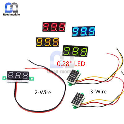 0.28 Inch 2/3 Wire LED Display Voltage Panel Meter Blue/Yellow/Green Voltmeter