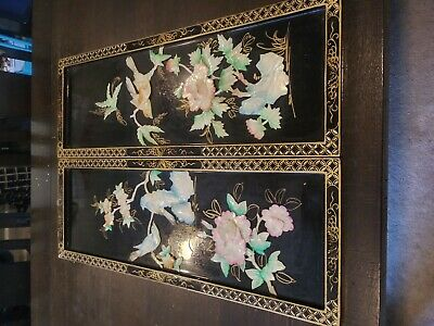Pair Of Vintage Mother Of Pearl Black Lacquer Chinese Wall Art