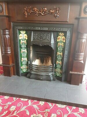 Victorian/Edwardian Cast Iron Insert And Wooden Fireplace Surround