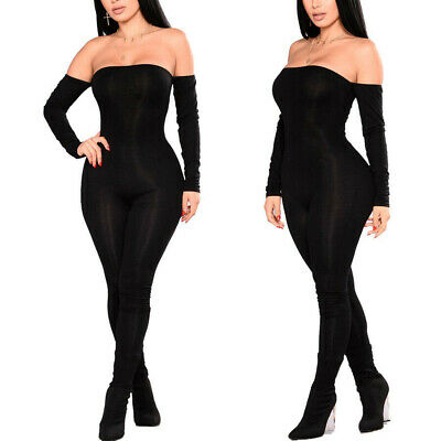 Women Ladies Sexy Solid Off Shoulder Bodycon Long Jumpsuit Rompers Clubwear