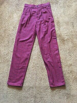 Vintage Retro Cropped Plaid Checked Trousers