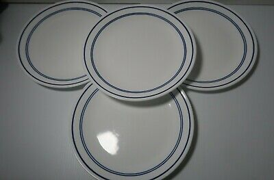 """Corelle by Corning Classic """"Cafe Blue"""" (4) Four 3 Stripes Dinner Plates 10 1/4"""""""