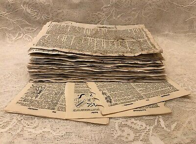 Vintage Dictionary Pages Bundle Combo Mix Coffee Stained & Natural Aged Ephemera