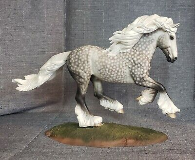 Artist Resin Model Horse painted by Sheryl Leisure Dappled Gray Gypsy Vanner