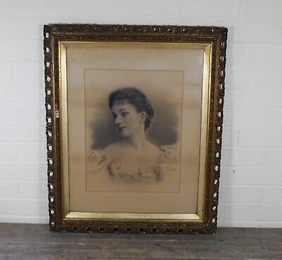 Large Antique 19th Century Pencil Drawing Portrait Study Of Young Victorian Lady