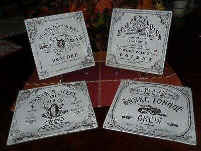222 Fifth Hallow Apothecary Salad Plates Set/4 Halloween Snake,Spider,Wolf,Frog