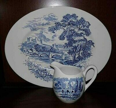 "Vintage Wedgewood Enoch ""Countryside"" Oval Platter and Creamer."