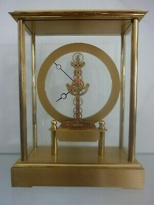 German Brass And Glass Mantle Clock Working Keeping Time
