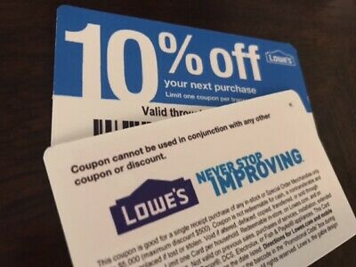 1 Lowes 10% off Coupon Exp 10/31/2019 WORKS at Lowes In Store Only BLUE CARD