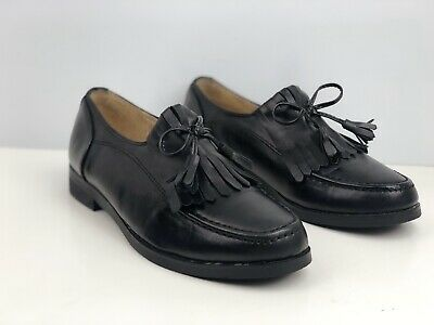 Essex Glam Women's Black Faux Leather Tassel Loafers UK Size 5
