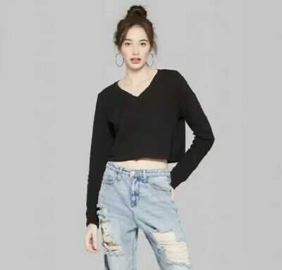 New Wild Fable Black Long Sleeve Women's V-Neck Waffle Knit Crop Top Size XL