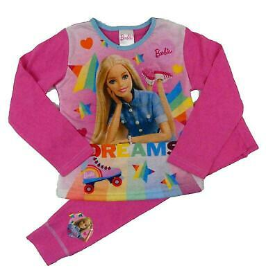 Barbie Girls Pyjamas Kids Long Sleeve Doll Nightwear PJs Cotton Pink Long Sleeve