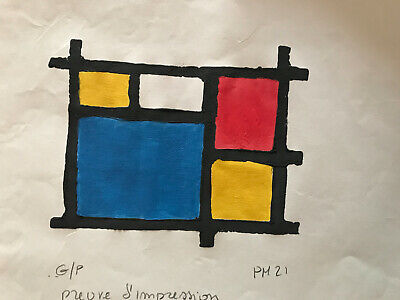 Piet Mondrian Oil Painting Signed Original Abstract