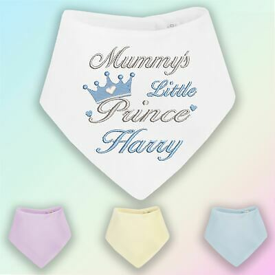 Mummy's Prince Name Embroidered Baby Bandana Dribble Bib Gift Personalised Boy