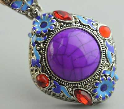 Collectable Handwork Miao Silver Carve Flower Inlay Agate Amulet Unique Pendant