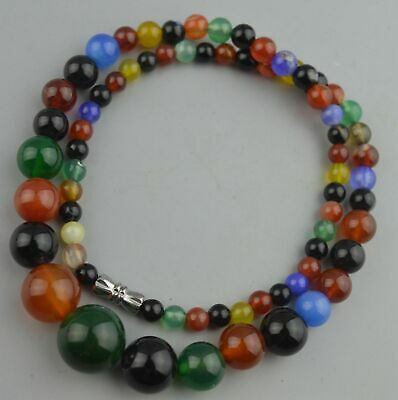 Collectable Chinese Handwork Agate Carve Colourful Bead Lucky Fashion Necklace