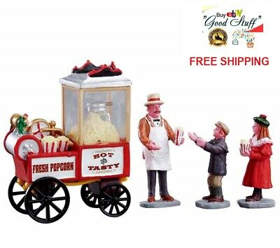 Lemax Village Figurines Collection Popcorn Seller Set of 4 XMAS Table Decor Gift