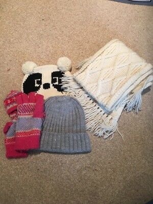 Hat, Scarf And Gloves Bundle Cream Black And Pink Vgc