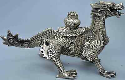 Collection Handwork Miao Silver Carve Fire Dragon Carry Ingot Exorcism Statue